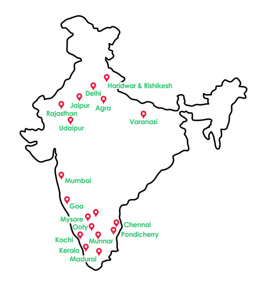 Vibrant India Tour Travel Guide Map