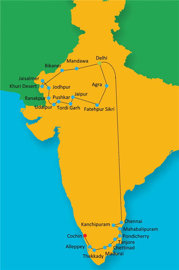 Best of North and South  Route Map