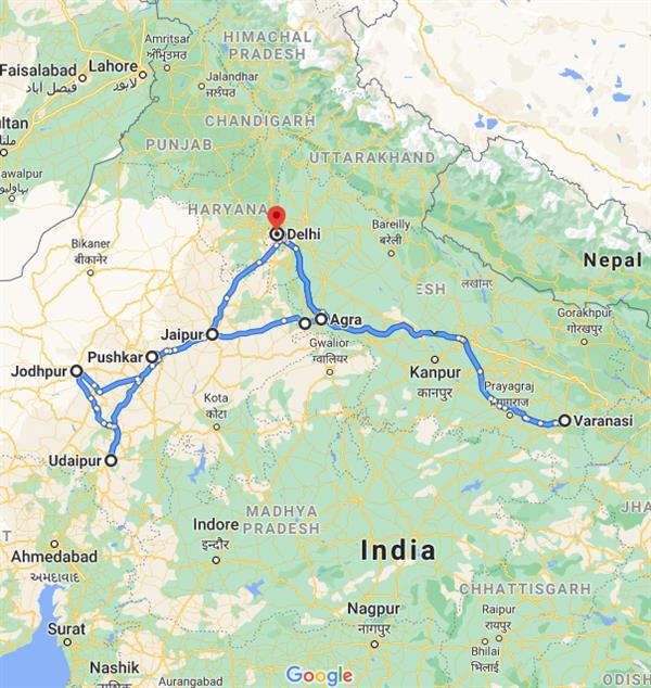 North India Tour Packages Route Map