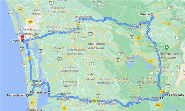 Best Of Kerala Route Map
