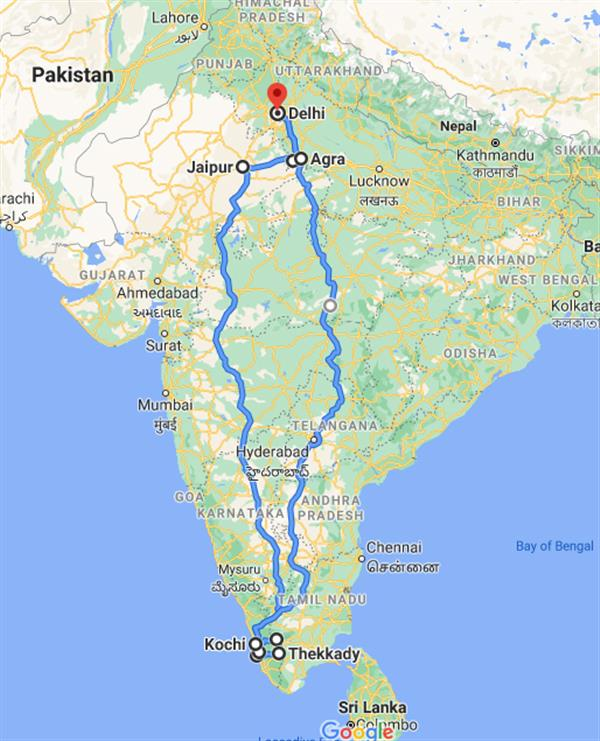 Golden Triangle with Serene Kerala Route Map