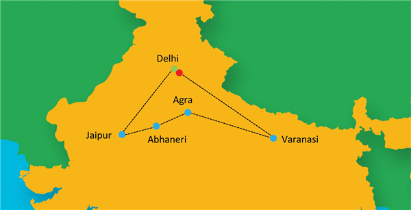 Holy Love - Golden Triangle with Holistic Varanasi Route Map