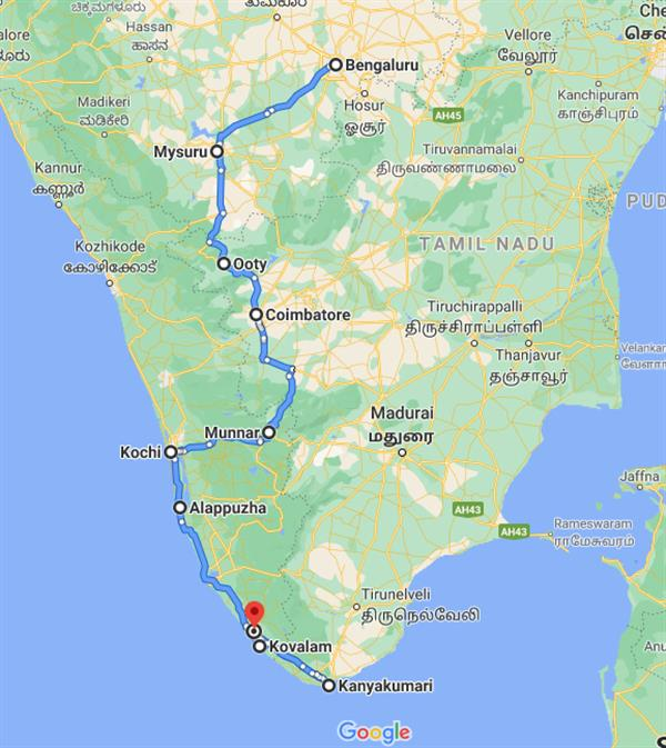 Nature, Wildlife & Beaches  South India Route Map