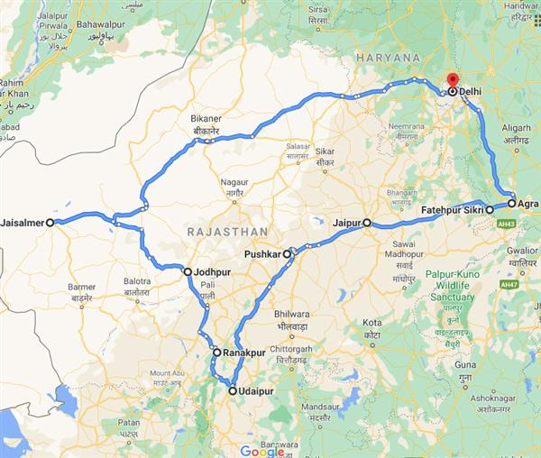 Royal Rajasthan with Taj & Tigers Route Map