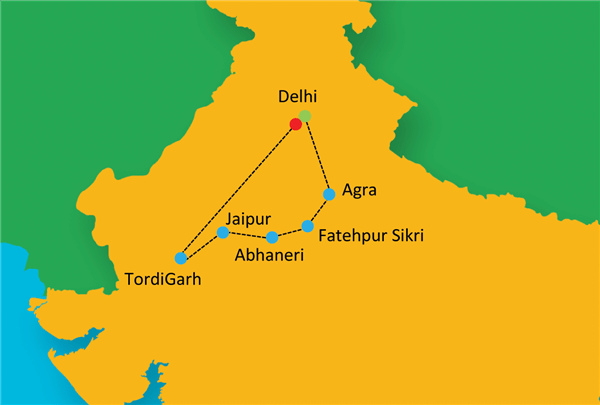 Pure & Authentic - Golden Triangle With Village Stay Route Map
