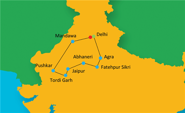 Essence of Rajasthan Route Map