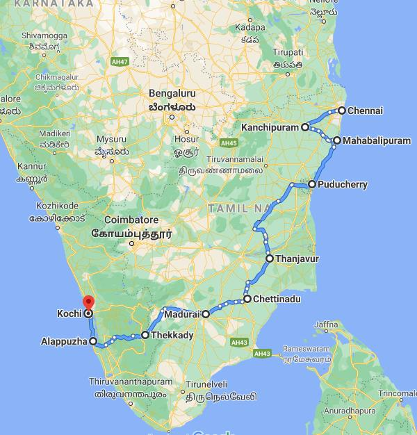 South Indian Culinary Delight Route Map